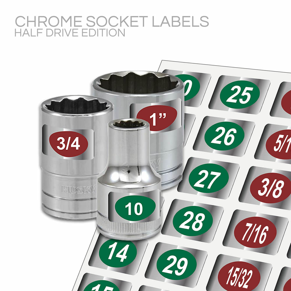 Chrome Socket Labels: Half Drive Edition