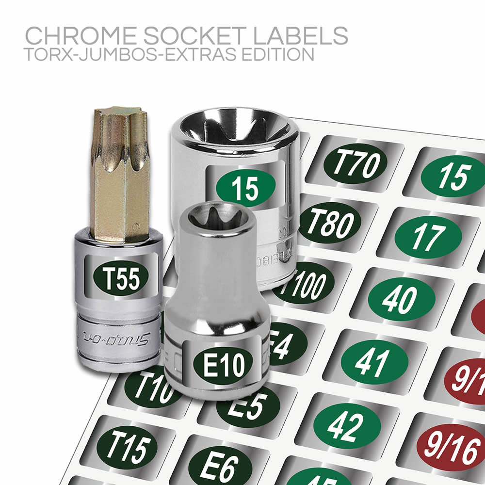 Chrome Socket Labels: Torx-Jumbo Sizes-Extras